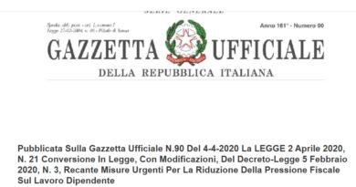RIDUZIONE PRESSIONE FISCALE SUL LAVORO DIPENDENTE G.U. 4.04.2020