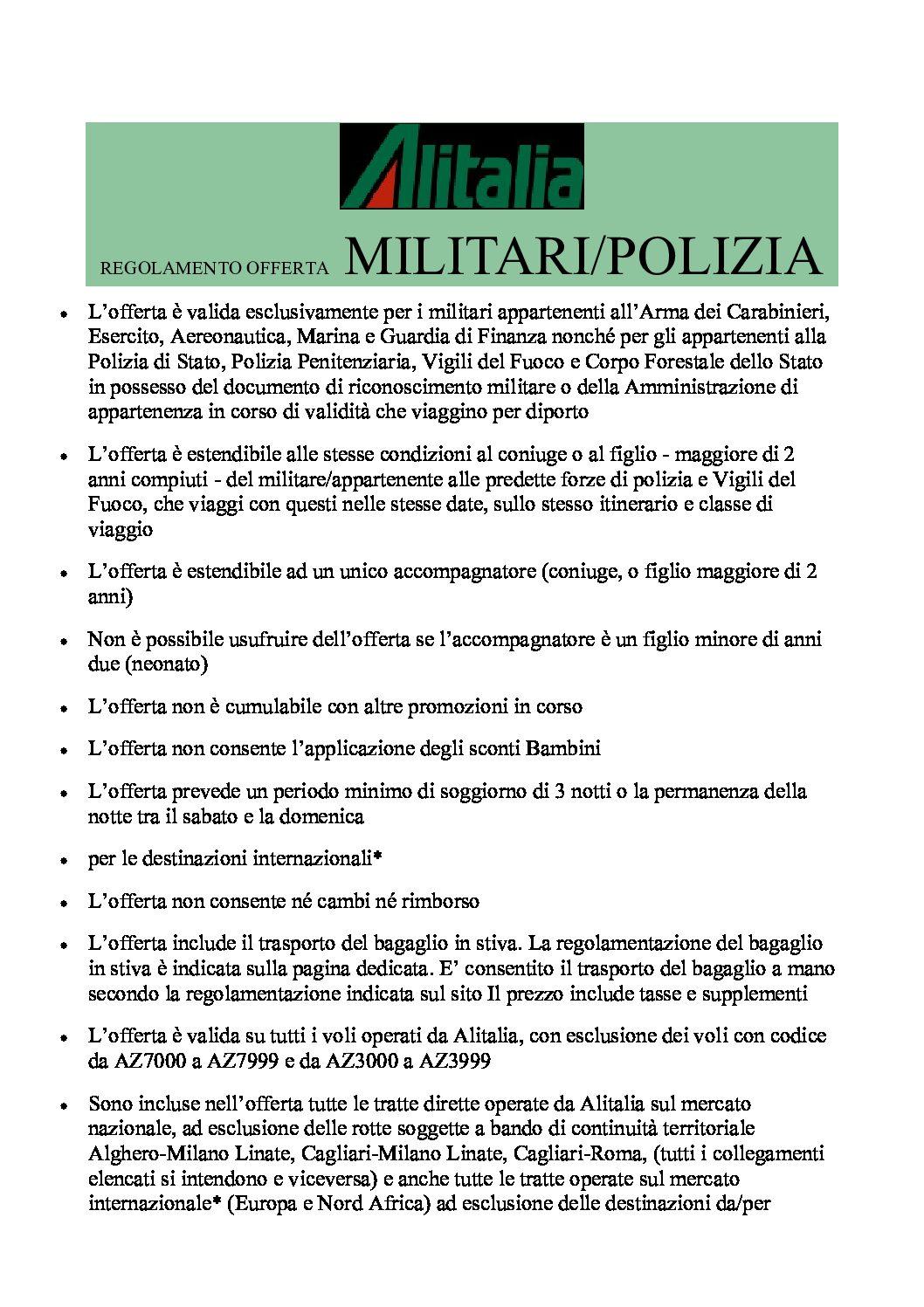 OFFERTA E SCONTISTICA VOLI NAZIONALI ALITALIA MILITARI/POLIZIA