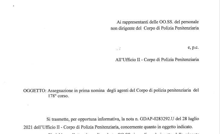 Assegnazione agenti del Corpo di Polizia Penitenziaria del 178° corso.